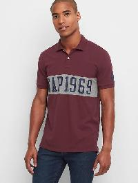 Gap Chest Stripe Logo Polo - Pinot noir