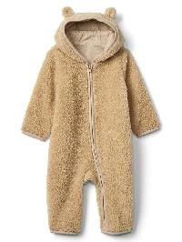 Gap Cozy Bear Zip One Piece - Oatmeal heather