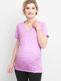 Gap Maternity Breathe Stripe V Neck Short Sleeve Tee - Pink stripe