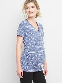 Gap Maternity Breathe Stripe V Neck Short Sleeve Tee - Blue stripe