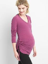 Gap Maternity Breathe Side Cinch V Neck Tee - Exotic fuchsia