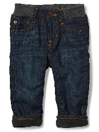 Gap My First Fleece Lined Straight Jeans - Medium wash