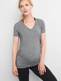 Maternity Gapfit Breathe V Neck Tee - Heather grey