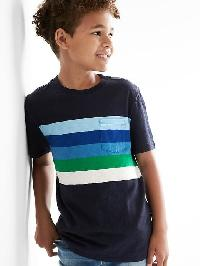 Gap Chest Stripe Pocket Slub Tee - True indigo