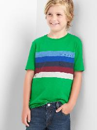 Gap Chest Stripe Pocket Slub Tee - Super green