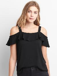 Gap Softspun Cold Shoulder Tee - True black