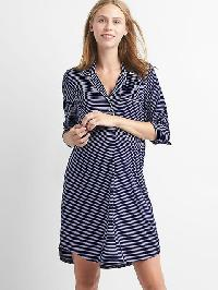 Gap Print Sleep Shirtdress - Navy white stripe