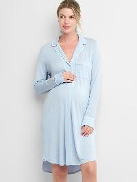 Gap Print Sleep Shirtdress - Ice blue