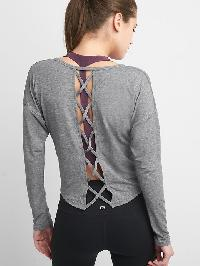 Gap Breathe Lattice Back Crop Tee - Heather grey