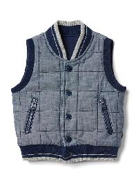 Gap Quilted Chambray Vest - Chambray 042