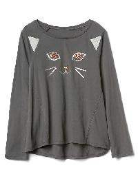 Gap Halloween Embellished Hi Lo Tee - Soft black