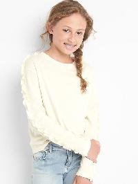 Gap Ruffle Long Sleeve Tee - Ivory frost