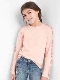Gap Ruffle Long Sleeve Tee - Pink dust