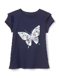 Gap Embellished Ruffle Short Sleeve Tee - Blue uniform