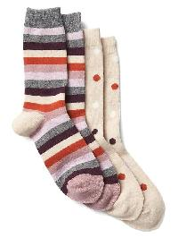 Gap Print Crew Socks (2 Pairs) - Oatmeal beige multi