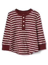 Gap Stripe Waffle Knit Henley - Red delicious