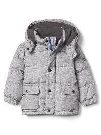 Gap Fleece Lined Puffer Hoodie - Grey heather