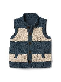 Gap Stripe Cable Knit Sweater Vest - Indigo slate