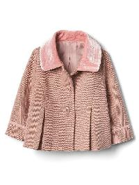Gap Herringbone Pleat Coat - Dusty pink