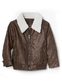 Gap Sherpa Faux Leather Flight Jacket - Mustang beach