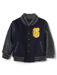 Gap Faux Leather Varsity Jacket - True indigo