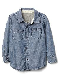 Gap Jersey Lined Chambray Shirt - Chambray 042