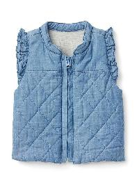 Gap Quilted Ruffle Chambray Vest - Medium wash