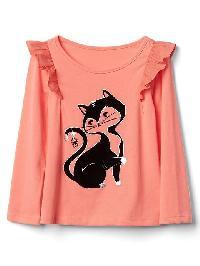 Gap Embellished Halloween Graphic Ruffle Tee - Cat