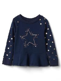 Gap Graphic Peplum Pullover - Silver star