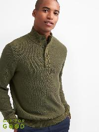 Gap Textured Henley Mockneck Sweater - Olive