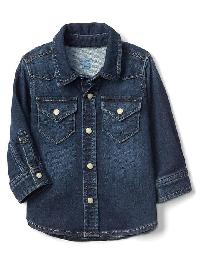 Gap Super Soft Denim Western Shirt - Dark indigo