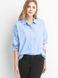 Gap Poplin Oversize Cocoon Shirt - Lt. blue oxford
