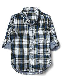 Gap Plaid Button Down Convertible Shirt - Festivus green