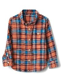 Gap Plaid Flannel Button Down Shirt - Fiery neon coral
