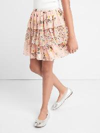Gap Floral Tiered Flippy Skirt - Pink floral