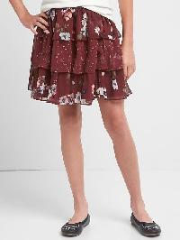 Gap Floral Tiered Flippy Skirt - Burgundy