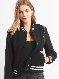 Gap Melton Wool Bomber Jacket - Black