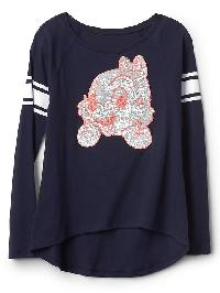Gapkids &#124 Disney Embellished Hi Lo Raglan Tee - Blue uniform
