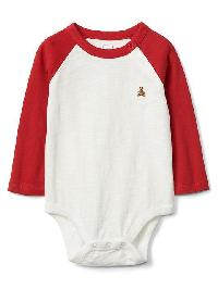Gap Long Sleeve Slub Baseball Bodysuit - Modern red