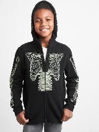 Gap Halloween Glow In The Dark Zip Hoodie - True black