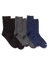 Gap Ribbed Dress Crew Socks (3 Pack) - True black