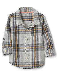Gap Plaid Poplin Pocket Shirt - Light heather grey b08