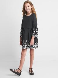 Gap Floral Embroidery Bell Dress - Moonless night