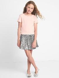 Gap Sequin Drop Waist Dress - Pink heather b0426