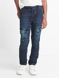 Gap Stretch Super Soft Denim Moto Joggers - Medium wash