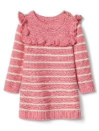 Gap Stripe Ruffle Sweater Dress - Pink heather