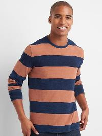 Gap Rugby Stripe Crewneck Tee - Hot chestnut