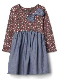 Gap Print Mix Fabric Bow Dress - Indigo chambray
