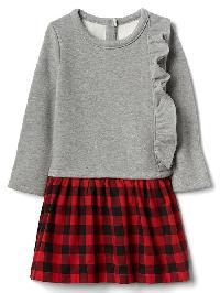Gap Ruffle Mix Fabric Dress - Modern red heather grey