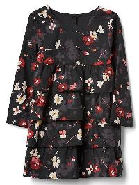 Gap Floral Tiered Ruffle Dress - Red floral print
